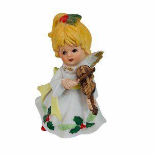 Homco Christmas Angel Figurine Violin Holly Berry